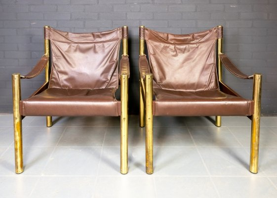 Set of 2 vintage safari chairs by Johanson Design, 1970s
