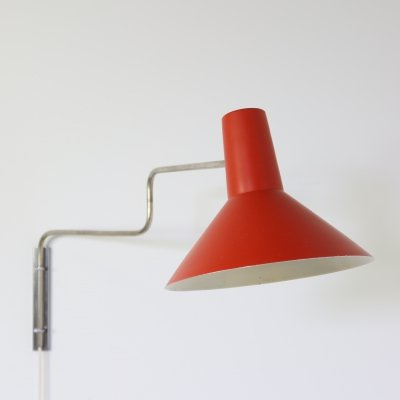 Early paperclip wall lamp by J. Hoogervorst for Anvia Almelo, 1950s