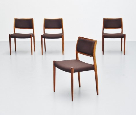 Set of 4 Niels Moller model 80 dining chairs in rosewood, Denmark 1968