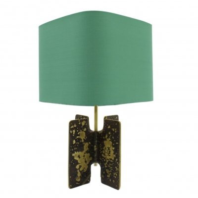 Brutalist Table Lamp in Brass with original fabric, 1960s