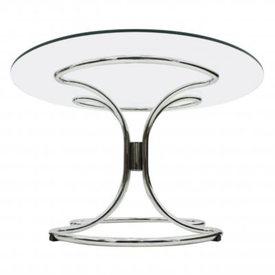 Chrome & Glass Dining Table, Italy 1970s