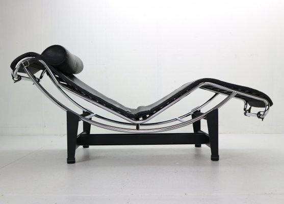Le Corbusier LC4 Black on Black Chaise Lounge Chair by Cassina, 1970s