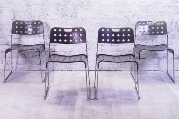 Set of 4 Omstak Stacking Chairs by Rodney Kinsman for Bieffeplast, 1970s