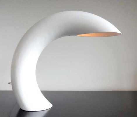 White sculptural table lamp by Georges Frydman, France 1960's