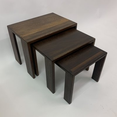 Set of nesting tables in wenge wood, 1970's