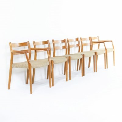 Set of six Teak dining chairs Mod '67+84' by Niels O. Møller, Denmark 1960s