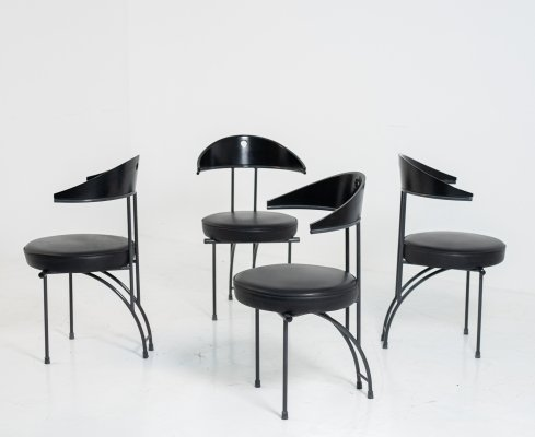 Set of 4 chairs in black wood & leather by Philippe Starck, 1970s