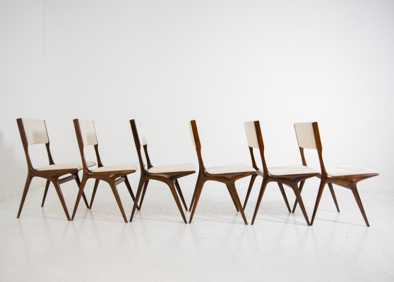Set of six Mod. 158 dining chairs by Carlo De Carli for Cassina, 1953