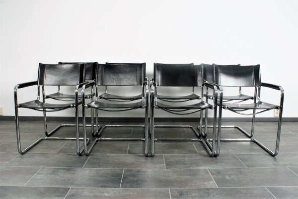 Set of 8 saddle leather S34 chairs by Mart Stam for Linea Veam, Italy 1980s