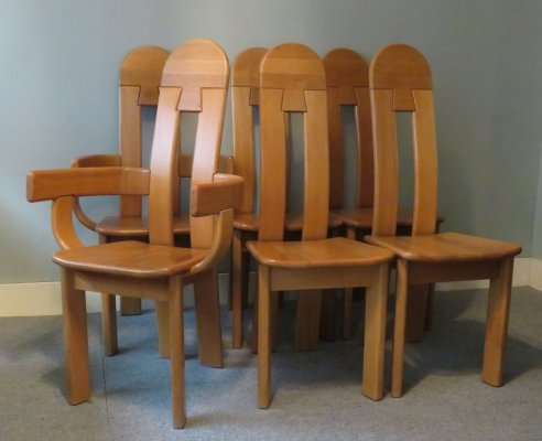 Set of 6 brutalist high back dining chairs in oak, 1980s