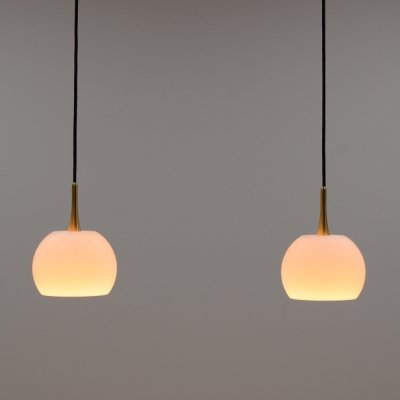 Brass & glass double pendant by Florian Schulz