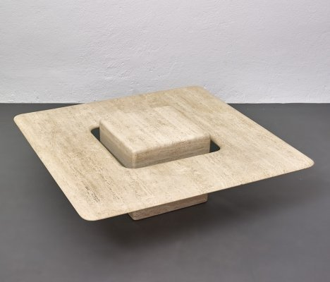 Italian travertine coffee table with floating top, 1970-1980