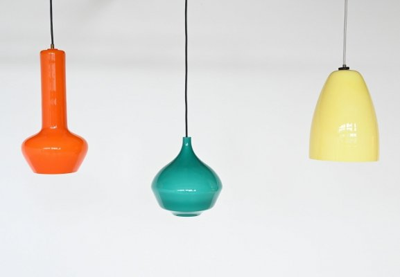 Massimo Vignelli set of three pendant lamps by Venini Italy, 1960