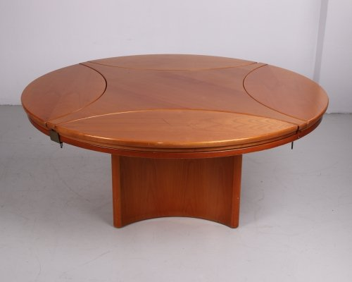 Beechwood coffee table that can be transformed into a square, 70s