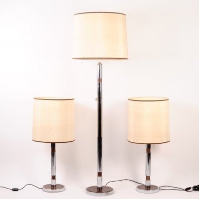 3 lamps in chrome & leather, 1970s
