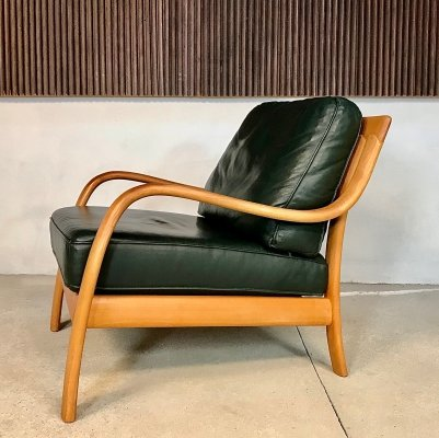 Danish Bentwood Leather Lounge Chair from Komfort, 1970s