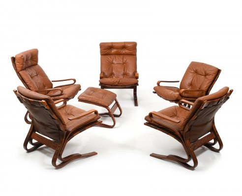 Danish Cognac Leather Seating Group 'Skyline' by Einar Hove