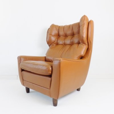 Carl Straub cognac-colored leather armchair, 1960s