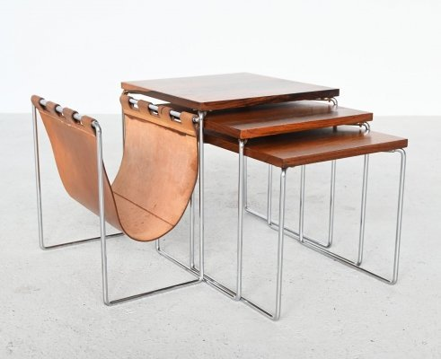 Set of three Rosewood nesting tables, The Netherlands 1960