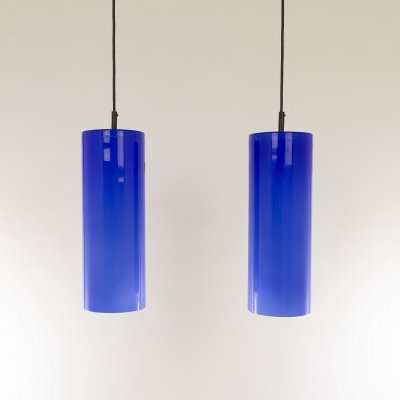 Pair of Cobalt blue Murano glass pendants by Venini