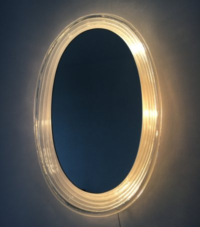 Hillebrand vintage Lucite wall mirror with backlight, Germany 1970s