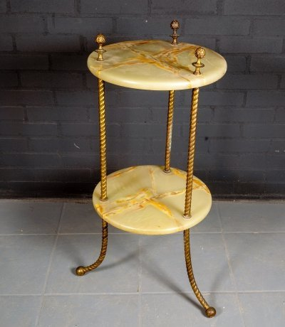 French Two-Tier Marble & Brass Side Table / Etagère