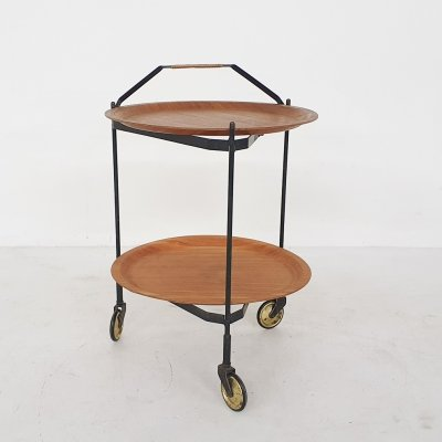 Teak & metal foldable serving trolley / bar cart by Ary Fanerprodukter Nybro