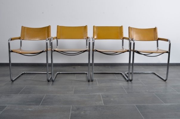 Set of S34 cantilever chairs in thick saddle leather by Mart Stam for Linea Veam