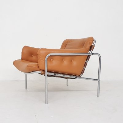 Martin Visser for 't Spectrum SZ08 'Osaka' cognac leather lounge chair, 1969