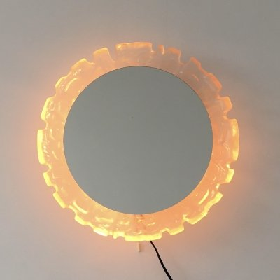 Hillebrand vintage Lucite wall mirror with backlight, Germany 1970's