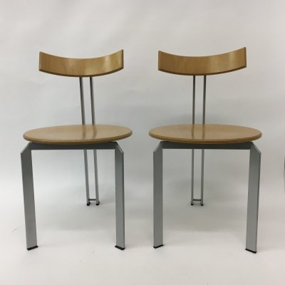 Set of 2 Mid-century design Harvink 'Zeta' dining chairs, 1980's