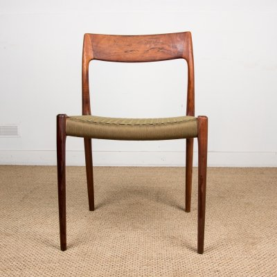 Set of 4 Rosewood Danish chairs model 77 by Niels Otto Moller, 1960