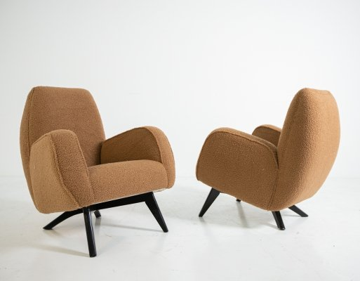 Pair of italian armchairs by Melchiorre Bega in brown Bouclè, 1950s