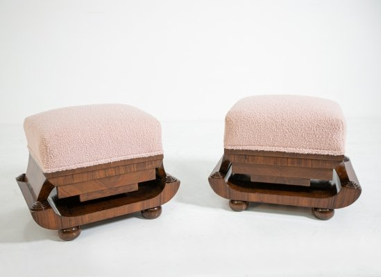 Pair of Art deco stools in walnut briar & pink bouclè