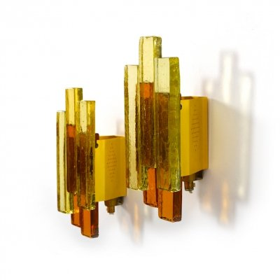 Pair of Svend Aage Holm Sørensen Amber Glass Lights, 1970s