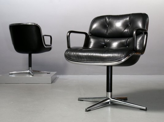 Executive Chair by Charles Pollock for Knoll in black leather black