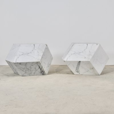 Pair of Mattia Bonetti polyhedral tables, 1990s