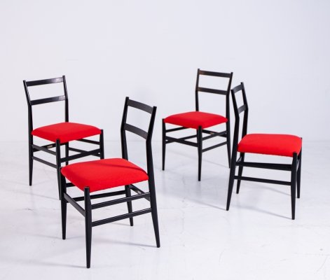 Set of 4 Chairs mod 'Leggera' by Gio Ponti for Cassina, 1950s