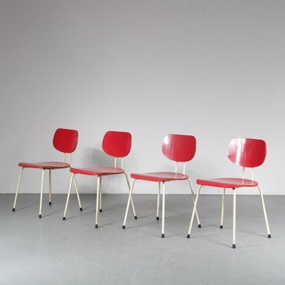 Set of 4 CT2 dining chairs by Willy van der Meeren for Tubax, 1950s