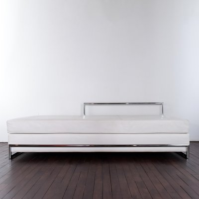 Eileen Gray daybed in white leather & chrome plated, 1990s