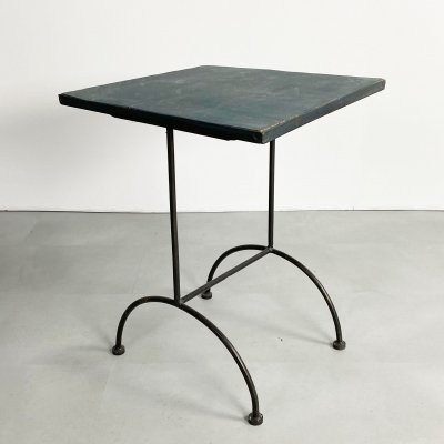 Vintage iron & stained wood side table, 1990s