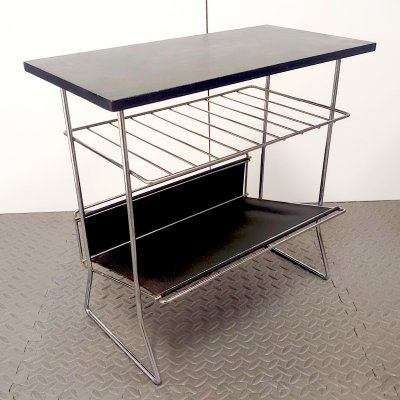 Mid-Century Side Table With Magazine Rack & Leather Shelf, 1950s