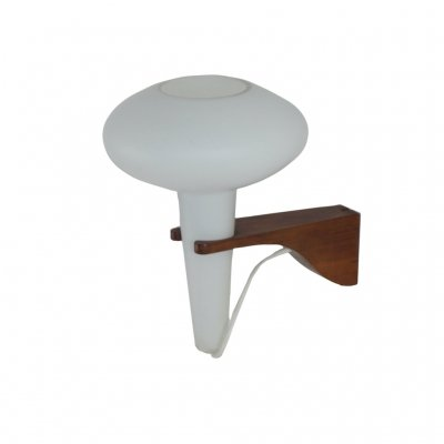 Wall Lamp Mushroom in Teak & White Glass by Artimeta, 1960s