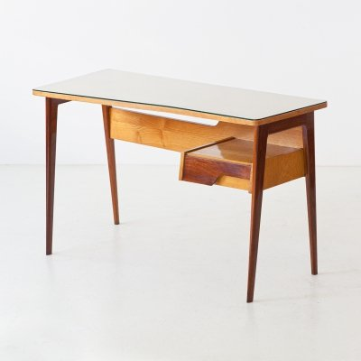1950s Italian Desk Table in Mahogany & Oakwood with Glass Top