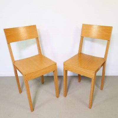 Pair of Beech multiplex chairs by Piet Hein Eek, 1990s