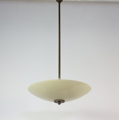 Pendant lamp in glass & brass, 1930s