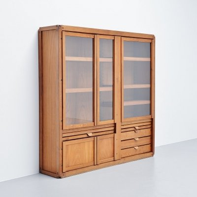 Pierre Chapo display cabinet in elm, France 1960