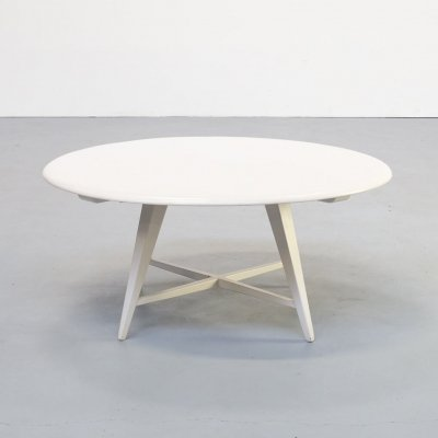 80s White round wooden coffee table by Bas van Pelt