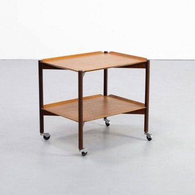60s Teak double 'tray' serving trolley