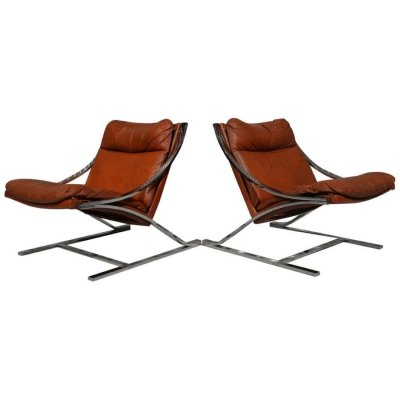 Paul Tuttle 'Zeta' leather lounge chairs for Strassle, Switzerland 1970s